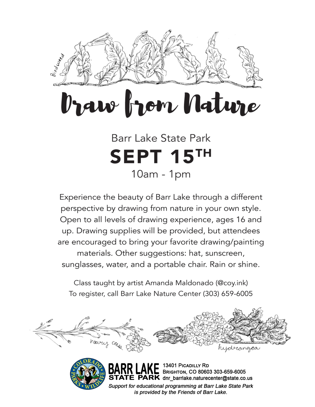 Draw From Nature - Barr Lake State Park Flyer - Sept 15